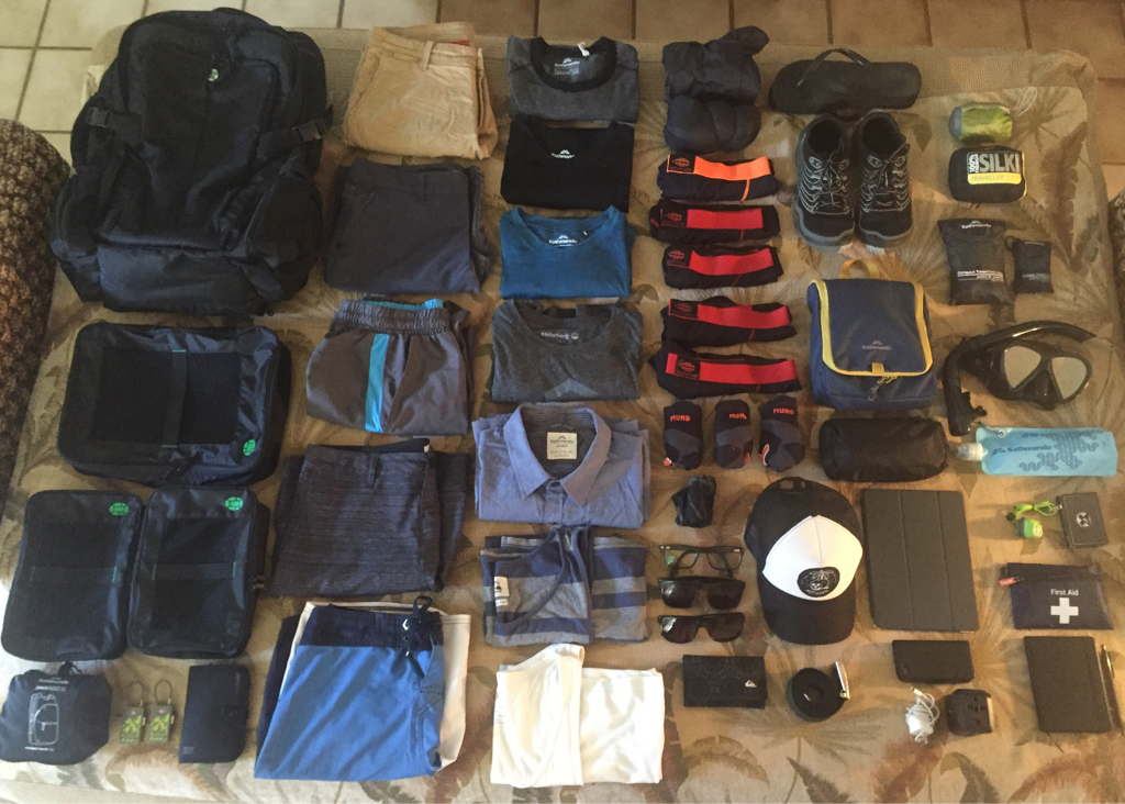 complete carry on bag packing list - Rob Packing Photo