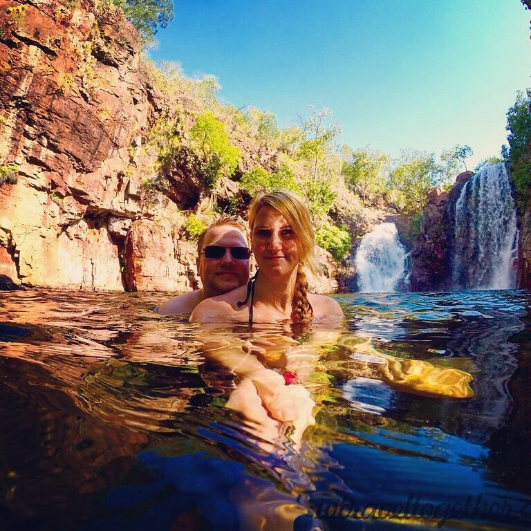 "Jon & Monica of ""We Travel Together"" getting wet in NT, Australia"