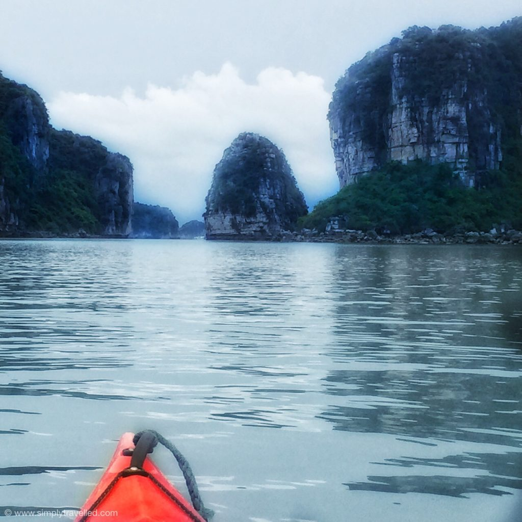 Kayaking around Bai Tu Long Bay