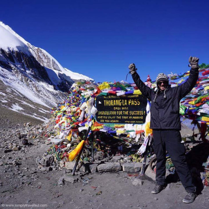Rob achieving his goal at Annapurna Circuit - solo travel